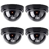 Telecamera finta, 4 pezzi Videocamera Telecamera Finta sorveglianza da Esterno Interno con LED Lampeggiante IR infrarossi CCTV, Videocamere finte