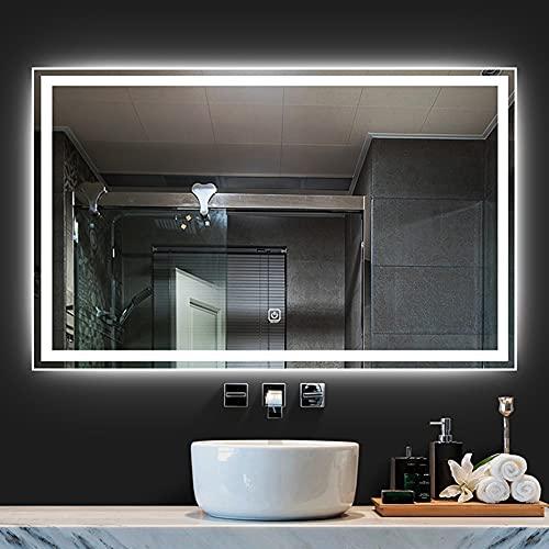 Espejo de baño, 60 * 80 cm/70 * 90 cm, espejo inteligente con luz táctil/LED, afeitado rectangular/espejo de vanidad, antiniebla/ El ahorro de energía, adecuado para hotel/apartamento/hogar,luz blanca