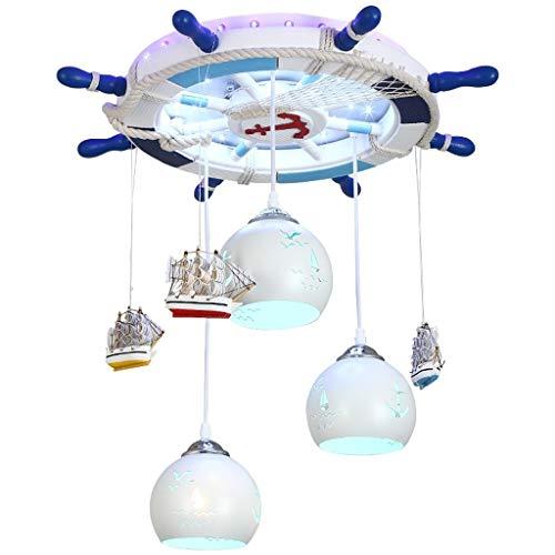 Iluminación colgante Iluminación de techo Techo de la habitación de los niños LED Light Kids Boy lámpara del barco pirata Lámpara colgante de la lámpara creativa del accesorio de la lámpara pendiente