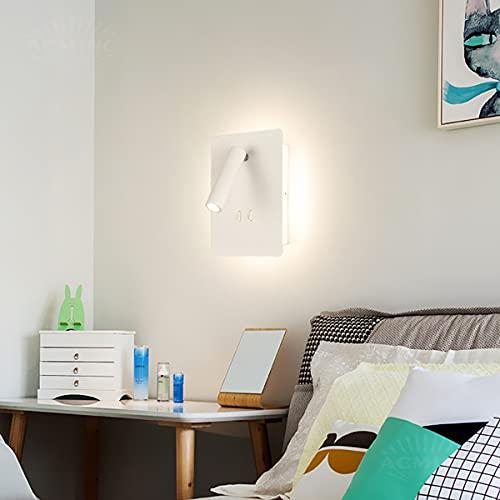 ACMHNC Aplique de Pared Interior Con Interruptor, Moderna Lámpara de Pared Cuadrada Aluminio Blanco Cálido Luz Pared Para Dormitorio Sala de Estar Pasillo Infantil,Max 12W, Focos de Pared COB,Blanco