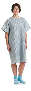 Medline Traditional Patient Gowns Straight Back One Size Star Print  Pack of 12
