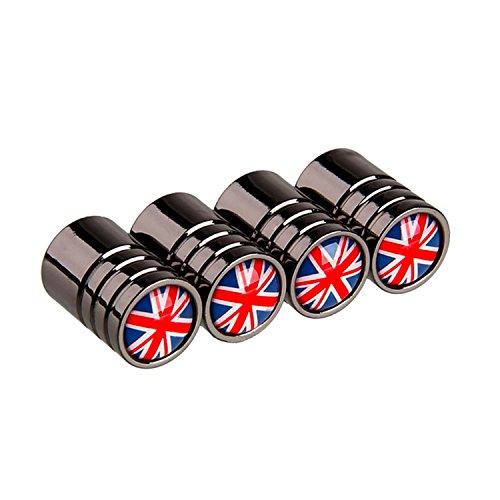 ARH Auto Accessories Silberfarbene Mini-Staubkappen mit Union-Jack-Design, 4Stück, passend für Auto-, Fahrrad- und Motorrad-Ventile