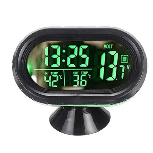 Zonfer 1pc 3-in-1 Mini-Auto-led-elektronische Digital-Uhr-automobilthermometer Voltspannung Zeit Wecker Schwarz