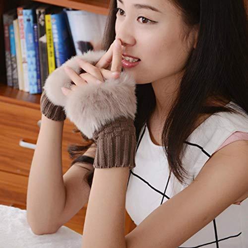 GUANAI Handschuh Damen Winter Strickpelz Fingerlose Handschuhe Warmes Haar Einfarbig Süße Handschuhe Bohnenpaste Farbe A