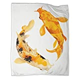 STTYE Koi Carp - Manta cálida de microfibra para dormitorio, 130 x 180 cm, para sofá, cama, playa, viajes