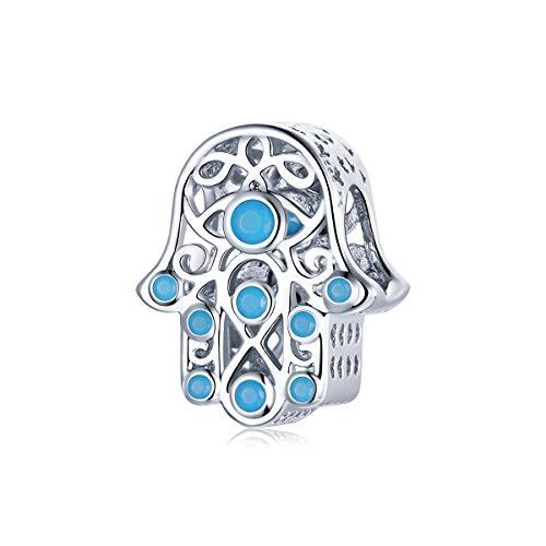 Abalorio de mano de Fátima de la suerte de plata de ley 925 con diseño de mano de Hamsa azul, apto para pulseras Pandora y collares