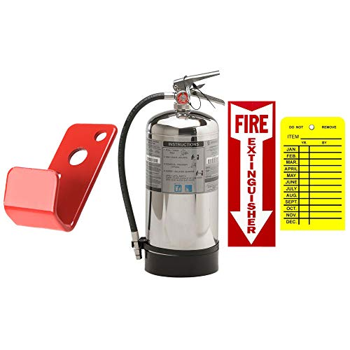Kitchen Fire Extinguisher UL/ULC Rated Stainless Steel 6 Liter Wet Chemical Class K Strike First with Wall Mount, Sign and Inspection Tag