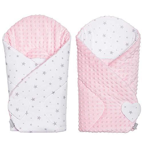 Sevira Kids – Sacco nanna, invernale, per neonato, multiuso, 100% cotone, tessuto Mincky reversibile, regalo per la nascita, colore rosa con motivo stella, 80 x 80 cm