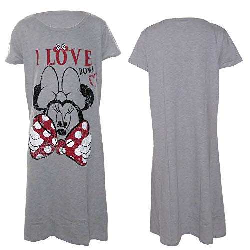 Nachthemd Damen lang Disney Minnie Mouse Schlafhemd I Love Bows T-Shirt grau (M)