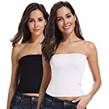 PLUMBURY® Women's Seamless Strapless Crop Top Tube Top Inner Camisole, Free Size (Pack of 2) Black/White