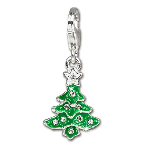 SilberDream Charm 925 Echt Silber Anhänger Weihnachtsbaum Zirkonia FC3113