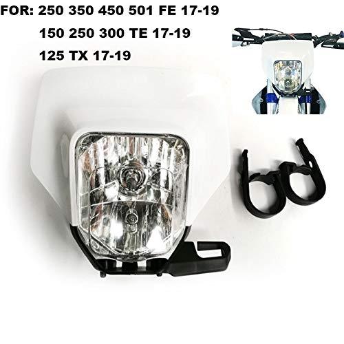 Faro de motocicleta Motocicleta Faro Cabeza de luz for Husqvarna motocross te 300 2018 TE250 Fe te tx FE350 125 150 250 350 450 501 300 2017 2019 (Color : White)
