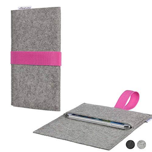 flat.design Handy Tasche Aveiro für Shift Shift6m handgefertig in Deutschland Sleeve Hülle Etui Filz hellgrau rosa