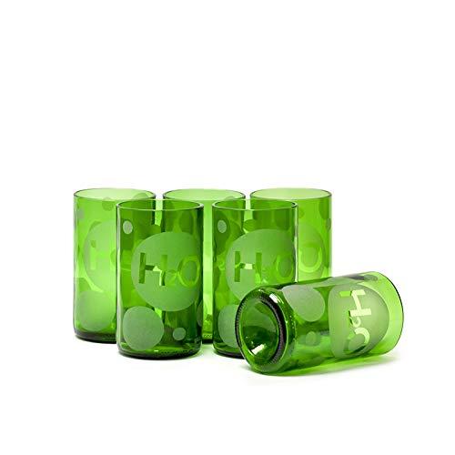 IWAS Juego de Vasos para Beber reciclados |Conjunto Impreso H2O |350 ML |12 OZ |(Juego de 6) |Vasos de Agua ecológicos