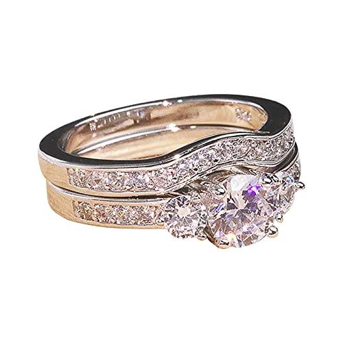 minjiSF Carving - Par de anillos de diamante para mujer y hombre, diseño retro, temperamento, único, boda, compromiso, recuerdo, joyas bonitas y únicas (E, 10)