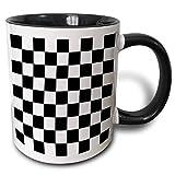 Tazza da caffè in ceramica per ufficio e casa, motivo a quadri in bianco e nero, 11 oz