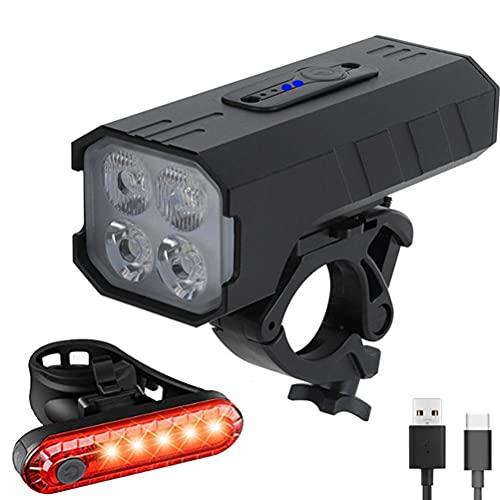 Moanyt LED impermeable Ciclismo bicicleta faro y luz trasera, USB recargable bicicleta montaña luces 7 modo luz ciclo luces lámpara al aire libre