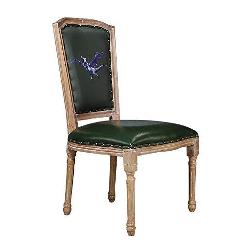 Tokyia Norte de Europa Silla de Comedor 2 sillas Informal Comedor Muebles Chinos de Madera Maciza sillas de Comedor Silla de la Cocina (Color: Verde, Tamaño: 50cm x 50cm x 95cm)