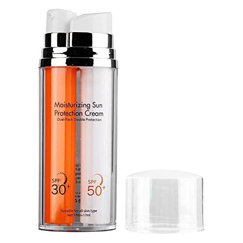 Lseqow Protector Solar, Crema UV Doble SPF50 + SPF30, Crema Protectora Solar hidratante, Crema Protectora Solar Facial con Aislamiento UV, 110 g