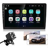 Android Radio de Coche Navi GPS 2 DIN 10.1 Pulgadas Pantalla táctil Reproductor de Coche con Bluetooth, WiFi, FM RDS Radio, USB + Cámara de Visión Trasera, Soporte MirrorLink/Control del Volante
