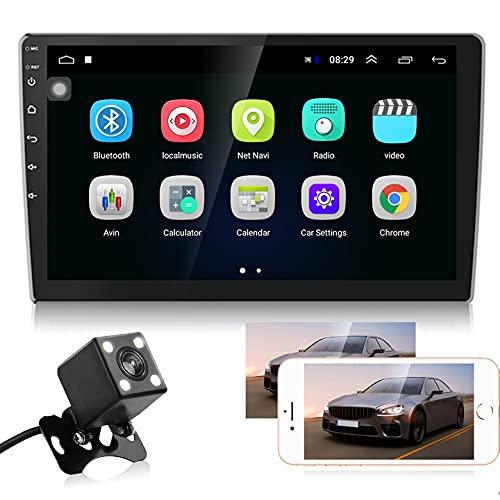 10.1' Autoradio Android - Bluetooth Autoradio mit Navi, Freisprecheinrichtung, Rückfahrkamera, Doppel Din Bildschirm und Dual USB, Unterstützung WiFi, MirrorLink, 2 Din & 1 Din Installation Hodozzy