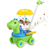 TEMI Ice Cream Toy Cart for Kids, 52 Pcs DIY Assembly Dinosaur Ice Cream Trolley STEM Take Apart Toys Food Truck Pretend Playset with Realistic Lights Sounds for Toddlers (Ice Cream Toy Cart)