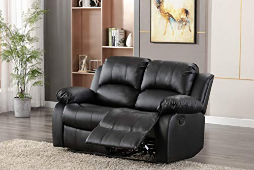Athon Leather Recliner Sofa, Love seat, settee, Armchair, Luxury Lounge Couche sets, Brown Black (1,2,3,3+1+1,3+2) (Black, 2 seater)