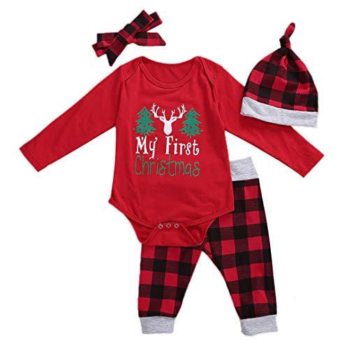 Geagodelia Babykleidung Set Weihnachten Baby Jungen Mädchen Kleidung Outfit Langarm Body Strampler + Hose Neugeborene Babyset Weihnachtsoutfit My First Christmas Rot (0-6 Monate, Weihnachtsbaum)