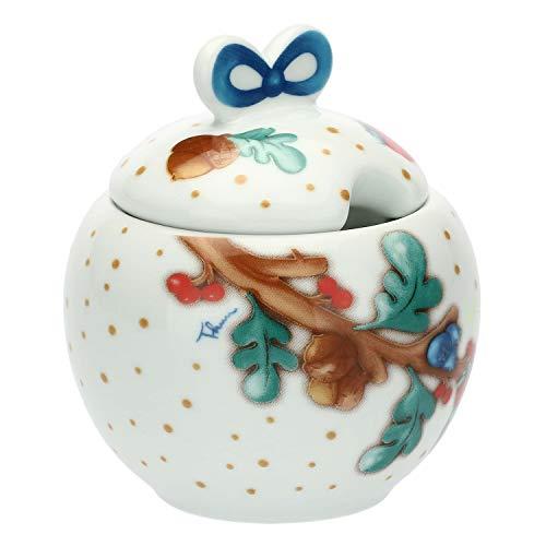 THUN ® - Zuccheriera - Linea Chiaro di Luna - Porcellana - Porcellana - Ø 9,5 cm - h 7 cm - con Coperchio h 14 cm