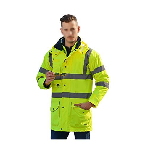 Chaleco de seguridad Reflectante chaleco de seguridad a prueba de agua de lluvia Chaqueta de los hombres 7 en 1 impermeable capa de lluvia de cortaviento y parka ropa de trabajo reutilizables Chaleco
