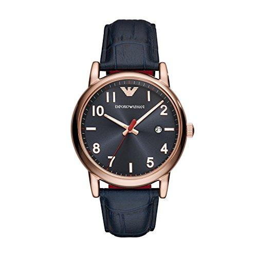 Emporio Armani Herren Analog Quarz Smart Watch Armbanduhr mit Leder Armband AR11135