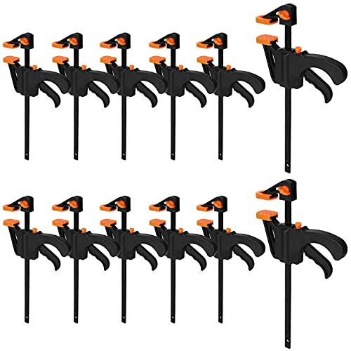 LISHINE 4 Inch Bar Clamps for Woodworking, 12 Pack Quick Grip Clamps Spreader Wood Clamps Trigger Clamp One Handed Ratchet Clamp, Mini Small Bar Clamp for Craft