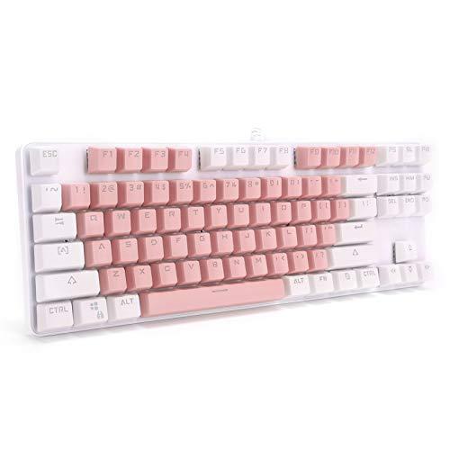 PUSOKEI Mechanische Gaming-Tastatur, 87 Tasten Mechanische Tastaturen mit blauem Schalter, kabelgebundene RGB-LED-Tastatur mit Hintergrundbeleuchtung, ergonomische Standardtastatur (pink mit weiß)