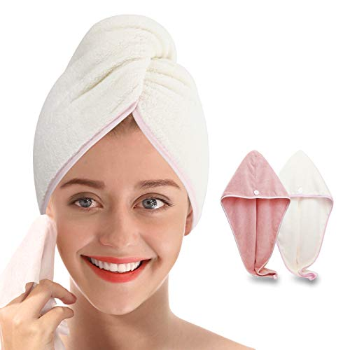 Microfiber Hair Towel with Button - Simone&Jerry Original Magic Instant Hair Dry Wrap for Women Rapid Drying Hair Turban, 2 Pack Hair Care Cap for a Bath Beige & Pink (10 x 26 Inches)