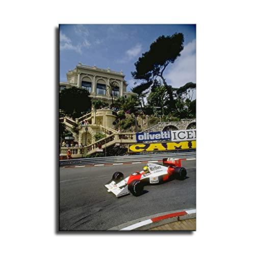 Hdadwy Ayrton Senna Grand Prix Monaco 1990 Wandkunst Bild Cuadros für Kunstwerk Poster Leinwand Malerei Dekoration (20x30 Zoll)