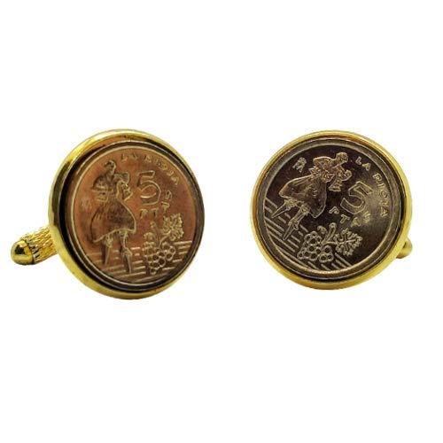Gemelos para camisa: Genumis Rioja - Moneda 5 pesetas 1996 España - Color Dorado - 18 mm