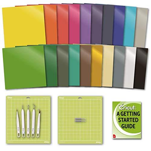 Cricut Explore Air 2 Essentials: Premium Vinyl Value Pack, GripMat, Tool, Fine-Point Blade and eBook