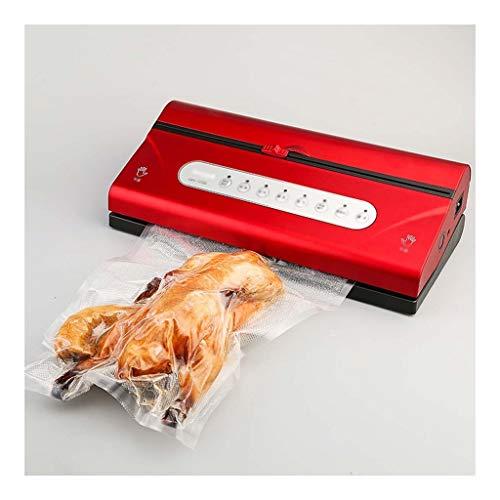 MasKyer Vakuumierer mit Einbau-Cutter & Roll-Beutel-Speicher, for Trocken- und Nassfutter Frische Preservation, Saugwalze Taschen & Hose inklusive (Color : Red)
