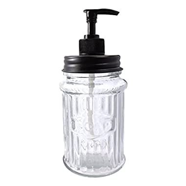 Colonial Tin Works Hoosier Soap Dispenser,Black/Clear,7 inches high x 3 inches diameter
