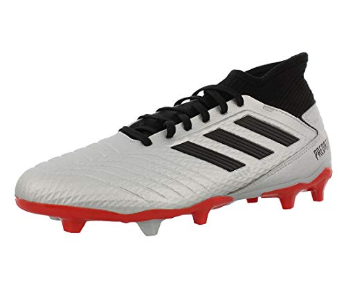 adidas Men's Predator 19.3 Firm Ground Soccer Shoe, Silver Metallic/Black/hi-res red, 10 M US