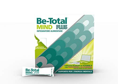 Be Total Mind Plus Integratore Alimentare di Magnesio, Potassio e Vitamine B per supportare il Metabolismo Energetico degli Adulti, Senza Glutine e Lattosio*, 20 bustine