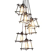 LJWJ ランプ家庭用シャンデリア、工業用レトロシャンデリア、カントリースタイルのリニアペンダント照明器具、6灯e27ペンダント照明、調整可能なクリエイティブシャンデリア素朴なシーリングライト,A-2