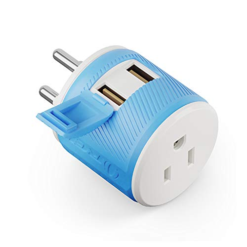 Thailand Travel Plug Adapter by Orei with Dual USB - USA Input + Surge Protection - Type O (U2U-18), Will Work with Cell Phones, Camera, Laptop, Tablets, iPad, iPhone and More