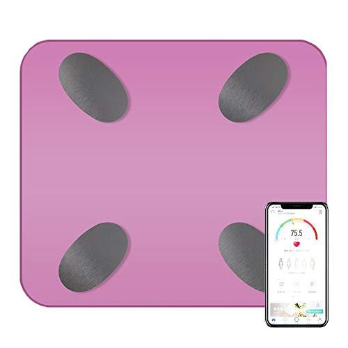 CFFDDE weegschaal met lichaamsvet en spiermassa gewichtsmeting voor meerdere gebruikers design met afgeronde hoeken Intelligente app voor gewicht en vet roze