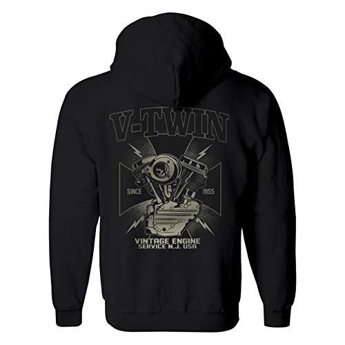 Rebel on Wheels Sudadera con capucha para hombre, diseño vintage, color negro Negro L