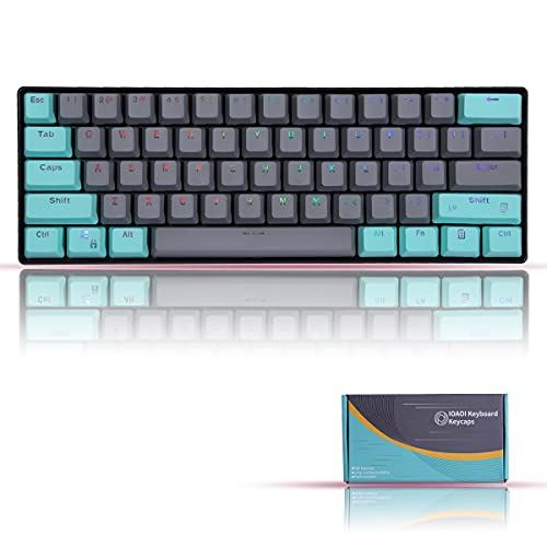IOAOI PBT Keycaps, 61 Keycaps for Cherry MX Switches /GH60/ RK61/ ALT61/ Annie Mechanical Keyboards OEM Profile Keycaps Set with Key Puller (Grey Cyan) - Only Keycaps