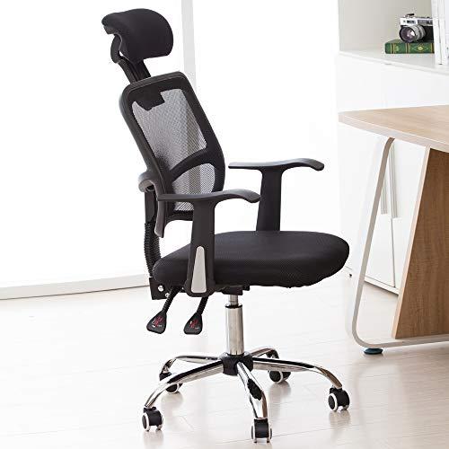 Bürostuhl, Ergonomischer Drehstuhl mit Armlehne, Kopfstütze und Lordosenstütze, Chefsessel Verstellbarer Schreibtischstuhl mit Wippfunktion, Chefstuhl bis 150kg belastbar