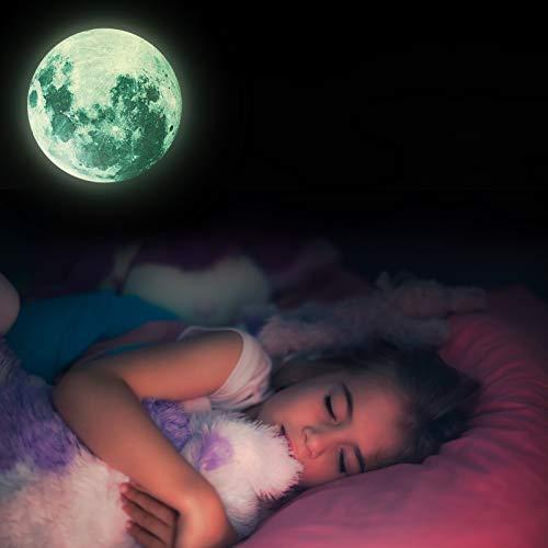 Blssom Wandtattoo Leuchtmond,selbstklebend fluoreszierend Mond Leuchtend Aufkleber Kinder Glow Sticker Leuchtsticker I Wand Deko für Kinderzimmer Schlafzimmer