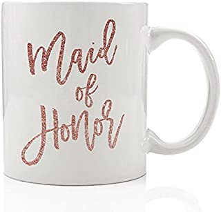 Pretty Pink Maid of Honor Gift Mug Will You Be My Maid of Honor Bride Proposal Sister Best Girl Friend Wedding Party Bridesmaids Bridal Gift Box Bag Favors 11oz Ceramic Tea Cup by Digibuddha DM0021