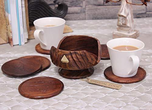 6 Hand geschnitzt Holz Untersetzer & Messing Detail Halter